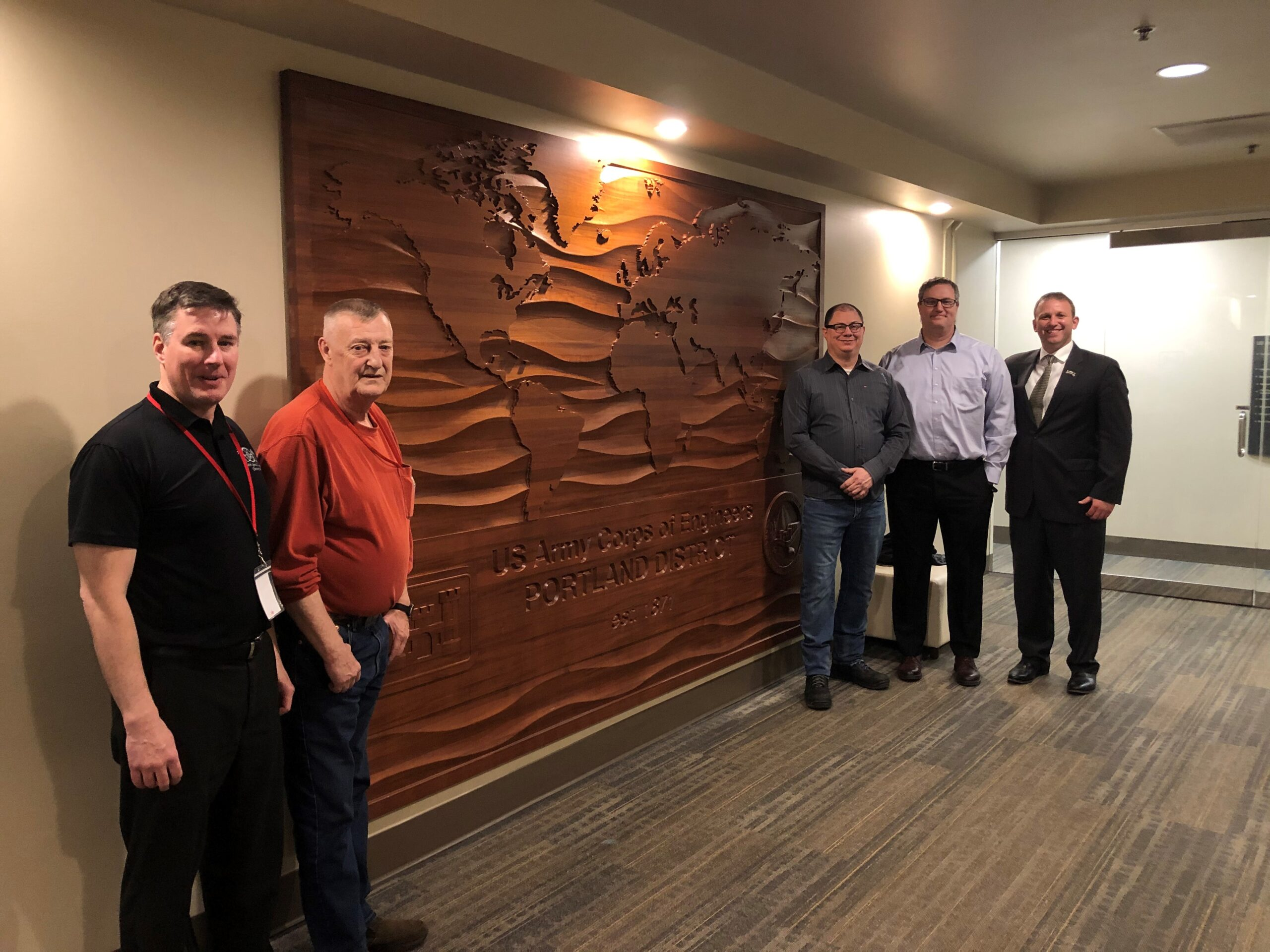 NFFE National President Randy Erwin and National Business Representative Rob Arnold with NFFE members at the Army Core of Engineers.