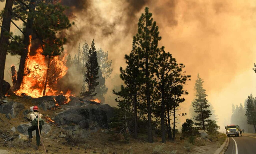 Caldor wildfire along highway in California.